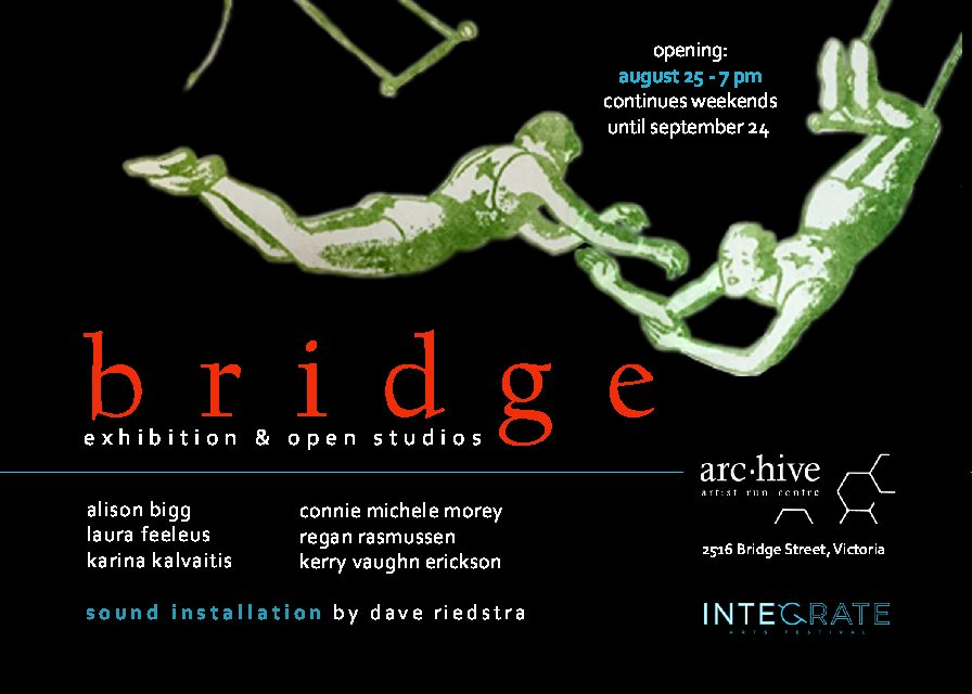 """bridge"" group exhibition will open at arc.hive on August 25 in conjunction with Integrate Arts Victoria"